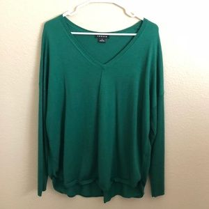 Trouvé Emerald Green Long V-Neck Sweater Pullover
